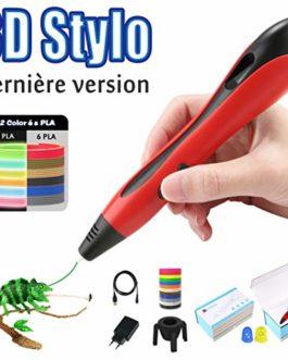 Lovebay Stylo 3D 3D Professionnel Pen Stylo d'impression 3D 【2019 Dernière Version Empêcher Le Blocage】 avec Ecran LCD+12 Multicolores Filament PLA, Cadeau – Stylo 3D pour Enfant et Adulte
