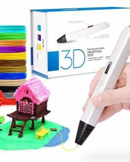 Stylo 3D Pour Les Enfants, 3D Stylo Avec Un Baquet De 12 Filaments PLA 3D Stylo d'impression écran à OLED Pour Les Enfants, Artiste et Adultes Adaptés Cadeau d'anniversair