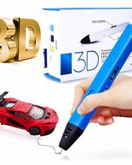 Gifort Stylo d'impression 3D, Stylo 3D avec écran OLED, température/Vitesse Ajustable,1,75 mm PLA & ABS, Filament 120 Pouces avec 6 Couleurs, pour Enfants/Adultes, idéal pour l'art, Le Cadeau