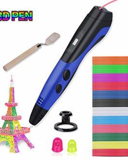 Lacroo 3D Stylo d'Impression,Peinture 3D Pen avec 12 Couleurs PLA Filament et Ecran LCD,3 Vitesses d'Impression et Température Réglable,Compatible PLA &ABS Filament