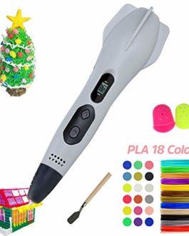 HQKJ Stylo 3D丨 Imprimer Pen Stylo 3D avec écran LCD, 3 Types de contrôle de la Vitesse et de réglage de la température, Mode Manuel Unique, Cadeau pour Enfants et Adultes, Cadeau de Noël