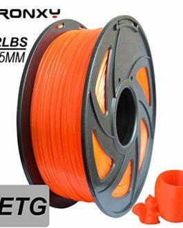 PETG 3D Filament 1,75 mm Tolérance de Diamètre +/- 0,03 mm 1 kg (2,2 lbs) Bobine de 1,75 mm Filament PETG pour imprimante 3D (Orange)