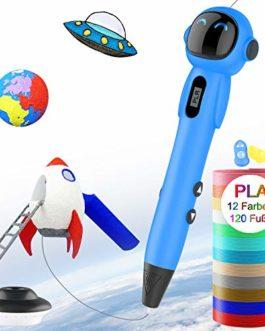 Stylo 3D pour les enfants,Stylo d'impression 3D OLICTAR,Stylos 3D pour enfants, avec écran LCD 12 couleurs 1.75mm filament PLA 120ft – blue
