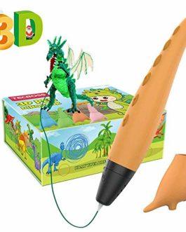 TECBOSS Stylo 3D pour Enfants, Jouets de Tige de Dinosaure 3D Art d'impression de Stylo d'impression avec 2 Vitesses, Les Cadeaux pour 6/7/8/9/10 Ans garçon Fille…