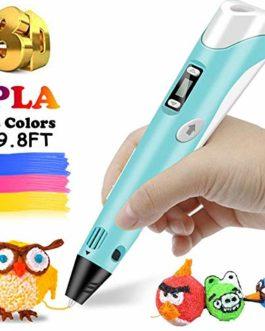 lesgos Stylo d'impression 3D Professionnel Pen, 9.8FT 3D Doodler Pen avec écran LCD, Stylo Dessin 3D avec recharges de Filament PLA de 3 Couleurs pour Enfants, Artiste, Adultes