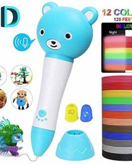 joyoldelf Stylo 3D avec Invites Vocales Stylo 3D pour Enfant 3 Vitesse d'impression Compatible + 12 Multicolores Filament PLA 1.75 mm, Cadeau pour Enfant et Adulte【2019 Dernière Version】