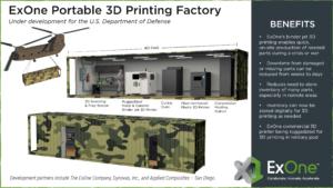 Read more about the article Le ministère américain de la défense passe un contrat avec ExOne pour des usines d'impression 3D de conteneurs d'expédition