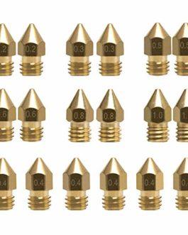 18 Pcs MK8 Extrudeuse Buse M6 3D Imprimante Extrudeuse Laiton Tête d'impression avec 7 tailles différentes pour 1.75MM…