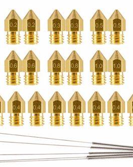 20 Pièces Buse Imprimante 3D M6 Extrudeuse Têtes,Buse Imprimante 3d CR10 (0.2/0.3/0.4/0.5/0.6/0.8/1.0mm) pour MK8…