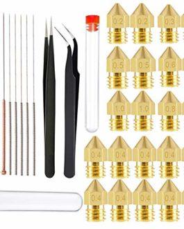 34 Pièces Buse D'Imprimante 3D Buses Kit – MK8 0.2mm, 0.3mm, 0.4mm, 0.5mm, 0.6mm, 0.8mm, 1.0mm et Tête D'impression de…