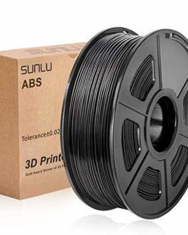 SUNLU 3D Printer Filament ABS, 1.75mm ABS 3D Printer Filament, 3D Printing Filament ABS for 3D Printer, 1kg, Black