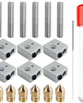 AFUNTA 6 Sets d'imprimante 3D Buse d'extrudeuse en acier inoxydable MK8, impression M6, tête, blocs de tube de gorge et…