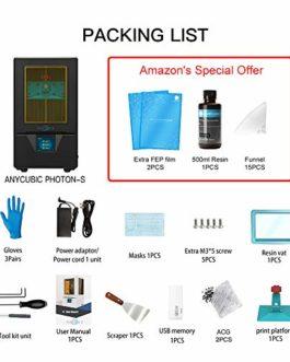 ANYCUBIC Imprimante 3D Photon S UV LCD résine / résine d'imprimante double axe Z linéaire et module UV amélioré…