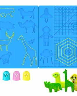 Aerb Tapis de stylo 3D en silicone multi-formes pour impression 3D avec 4 protecteurs de doigts, cadeau pour débutants/enfants/adultes (41,1 x 20,8 cm)