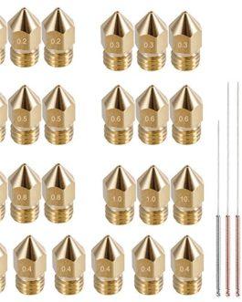 Afunta 24 pièces M6 imprimante 3d extrudeuse Laiton Buse Têtes d'impression pour 1.75 mm MK8 MakerBot, Anet A8 et CR-10…