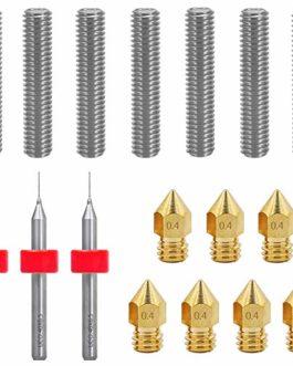 Afunta 7pcs imprimante 3d Gorge de buse et 7pcs 0.4 mm d'imprimante Laiton Buse Print Têtes et 3pcs 0,4 mm forets…