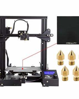 Comgrow Creality Imprimante 3D DIY Ender 3 avec Plaque en Verre Trempé et Cinq Buses 220x220x250mm Taille d'impression