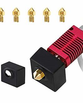 Creality MK8 hot end Kit d'extrémité chaude d'extrudeuse vec buse 0,4 mm*5 et Coque en silicone*1 pour imprimante 3D…