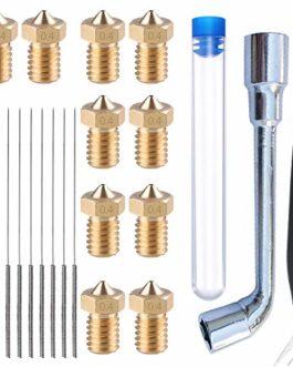 HAWKUNG 27 Pièces Kit Nettoyage Buse Imprimante 3D, 10 V6 0.4 mm Laiton Buse + 10 Aiguille de Nettoyage (0.35 mm x 10…