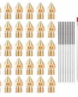 HAWKUNG 30 Pièces 3D Imprimante Laiton Buse 0.4mm MK8 Buses D'extrudeuse + 10 Pièces Aiguilles De Nettoyage De Buse En…