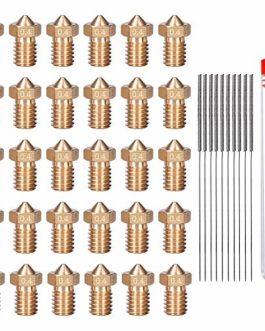 HAWKUNG 40 Pièce Kit de Nettoyage de Buse en Laiton pour Imprimante 3D, 30 Pièce Buses D'extrudeuse V6 de 0,4 mm + 10…