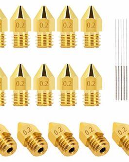 LUTER 15PCS 0.2mm 3D Imprimante Buse MK8 Extrudeuse Nozzle + 5 PCS 0.15mm Acier Inoxydable Aiguilles Buse De Nettoyage…