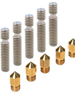 PChero 5pcs 0.4mm laiton extrudeuse têtes d'impression buse et 5pcs 26mm longueur extrudeuse 1.75mm Tube pour MK8…