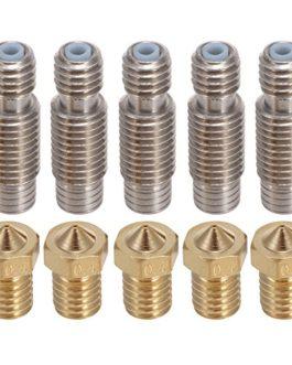 PChero 5pcs V6 0,4 mm laiton buse Buse + 5pcs V6 22 mm Acier Inoxydable Collier avec tube en Teflon pour imprimante 3D…