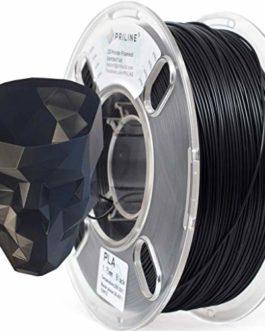 Priline PLA 1.75 Filament pour imprimante 3D, précision dimensionnelle +/-0,03 mm, bobine de 1 kg, noir