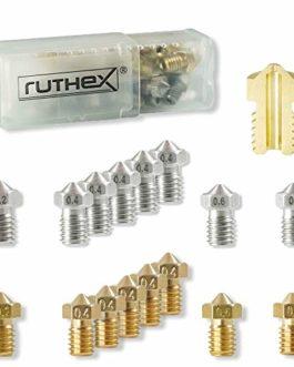 ruthex Volcano buse d'imprimante 3D [12 pièces] | 6x buses en laiton 6x buses en acier inoxydable | 1,75 filament | pour…