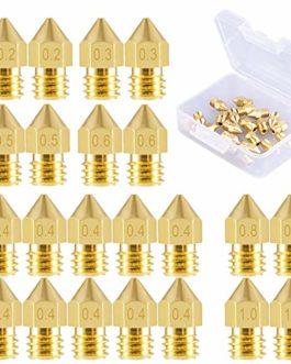 SIQUK 22 pièces Buses d'imprimante 3D Buse MK8 0,2 mm, 0,3 mm, 0,4 mm, 0,5 mm, 0,6 mm, 0,8 mm, 1,0 mm avec boîte de…