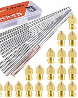 SIQUK 24 Pièces Buses d'imprimante 3D Buse MK8 0.2mm, 0.3mm, 0.4mm, 0.5mm, 0.6mm, 0.8mm, 1.0mm et 16 Pièces Aiguilles de…