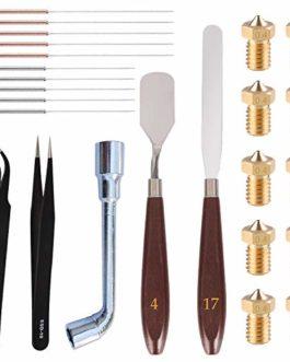 SOOWAY 25 Pièces Kit Nettoyage Buse Imprimante 3D, 10 pièces V5 V6 0,4 mm Laiton Buse+ 10 Aiguilles de Nettoyage (5 x 0…