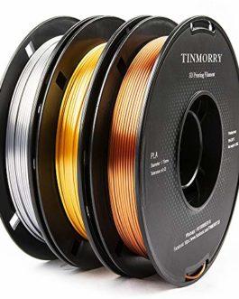 Silk PLA Filament 1,75 mm, TINMORRY Imprimante 3D Filament, Matériaux d'impression 3D, 1,5 kg 3 bobines, Or + Silver…