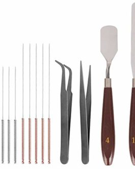 SourceTon Lot de 14 outils de nettoyage et de démontage des buses d'imprimante 3D, 2 couteaux à palette, 10 aiguilles (5…