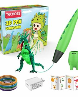 Stylo 3D pour enfants, jouets de tige de dinosaure 3D art d'impression de stylo d'impression avec 2 vitesses, les meilleurs cadeaux pour 6/7/8/9/10 ans garçon fille