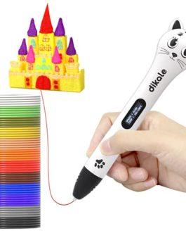 Stylo 3D rose avec recharges de filament PLA de 12 couleurs de 3,7 m, design en forme de chaton, stylo d'impression 3D…