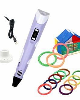 Stylo d'Impression 3D+12 Multicolores Filament PLA, température/vitesse réglable, Loisirs créatifs en Famille, pour…