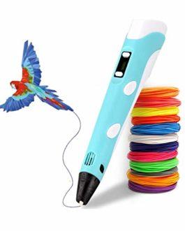 Stylo d'impression 3D, stylo Doodler 3D avec filament PLA 12 couleurs (total 36 m), PLA et ABS compatible, jouet créatif, grand cadeau d'artisanat d'art de dessin pour enfants et adultes