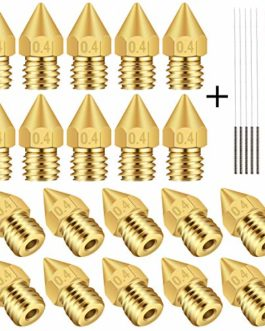 TUZUK 20 pcs 0.4 mm imprimante 3d MK8 extrudeuse Laiton Buse Têtes d'impression pour MK8 MakerBot RepRap Creality CR-10…