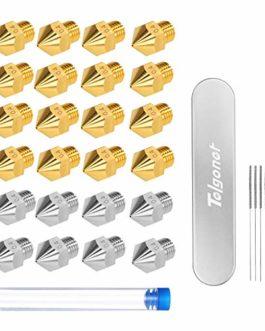 Telgoner 24PCS 3D Imprimante Buse(16xLaiton + 8xAcier), Outil de Nettoyage Avec Buses, Pour MK8 Extrudeuse Nozzle 0,4 mm…