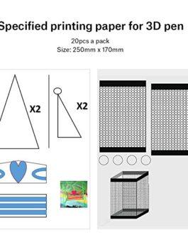 Hopcd Papier de modèle de Stylo 3D, 20 pièces Papier d'impression de Stylo 3D Peinture modèle de Graffiti 40 modèles de Dessin animé pour Enfants Bricolage, moules de Dessin d'imprimante 3D