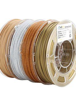 AMOLEN Imprimante 3D Filament PLA 1.75mm, Bronze, Marbre, Bois, Shining Or, 4x225g,+/- 0.03 mm Matériel d'impression 3D…
