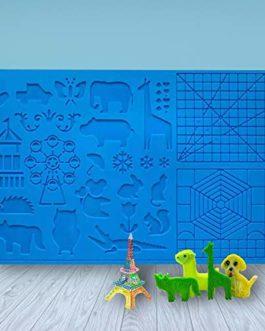 LATTCURE Tapis pour stylo 3D Motif animal Idéal pour les débutants, les enfants et les artistes 3D avec 2 doigts 41,5 cm…