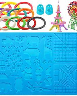 Lot de 12 tapis en silicone pour stylo 3D XL – 41,7 x 27,7 cm – Plusieurs formes – 12 stylos 3D à filament de différentes couleurs et 2 protège-doigts en silicone pour débutants/enfants/adultes