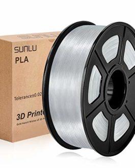 Filament PLA 1.75mm 1kg Transparent, Filament d'imprimante 3D SUNLU PLA Transparent 1.75mm 1kg Bobine pour impression 3D