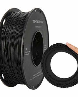 Filament TPU 1.75mm, TINMORRY TPU 3D matériaux d'impression pour imprimante 3D FDM 1kg 1 bobine Noir