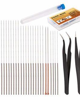 LUTER 28 Pièces Buse Nettoyage Aiguilles Kit Imprimante 3D Accessoires de Nettoyage Comprenant 26 Pièces 0,15mm, 0,25mm…