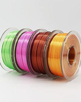 zyxzly 4 Couleurs de la Soie 3D imprimante PLA Filament 1.75mm, Bouffon de Filament de Brillance Brillant de Type métal…
