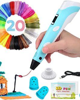 Stylo 3D intelligent avec écran LED, stylo d'impression 3D avec chargement USB, recharges de filaments PLA 20 couleurs…
